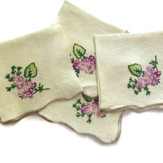 Vintage Hand Embroidered Napkins, Pale Yellow Linen, Purple Flower Embroidery with Green Leaves, Scalloped Edges Finished in Tan Thread Vintage by MerrilyVerilyVintage