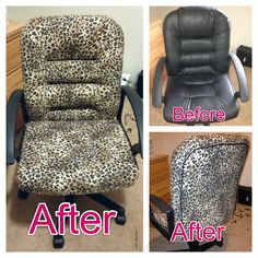 Reupholstered with leopard print fabric, glue, and staples. The cord on the back that covers the fabric seam is actually a new round shoelace that I had laying around. Wood Projects, Sewing Projects, Leopard Chair, Leopard Print Fabric, Round Chair, Wood Furniture, Furniture Ideas, Hanging Chair, Office Decor