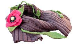 #BrownScarf #Shawl #KnittedShawl #FeltBrooch #RedPoppy #scarf #etsy #melmetextil   #gifforgrandmother