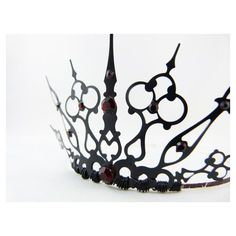Red Gothique 2.0 Black Crown Black Tiara Filigree Tiara Gothic Tiara... ❤ liked on Polyvore featuring accessories