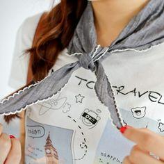 Korea womens shopping mall [styleberry] #koreafashionshop #Fashionwomen  #korea #dailylook #dailyfashion #T-shirts #dress #tops #blouse #cardigan #outwear #skirt #pants #basicitem #shoes #bag #jewelry #acc #koreafashion #clothes #scarf #围巾 #スカーフ Girl sensibility Cotton Triangle Scarf / Size : FREE / Price : 13.03 USD