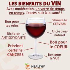 Le vin a lui aussi des bienfaits, mais SEULEMENT dans le cadre d'une consommation modérée, à savoir un verre de temps en temps. Dans le cas d'une consommation excessive, celui-ci sera plus néfaste que bénéfique, comme tous les alcools. | Healthy Student - Pour me suivre : Valentin Loiseau, Facebook