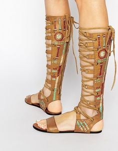 Free People Leather Bellflower Tall Gladiator Flat Sandals