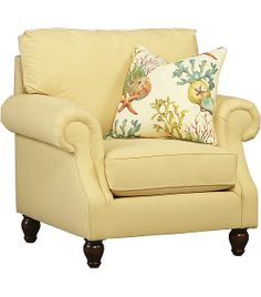 This #pastel yellow #havertys Coral Bay Chair looks so cheerful! #HavertysRefresh