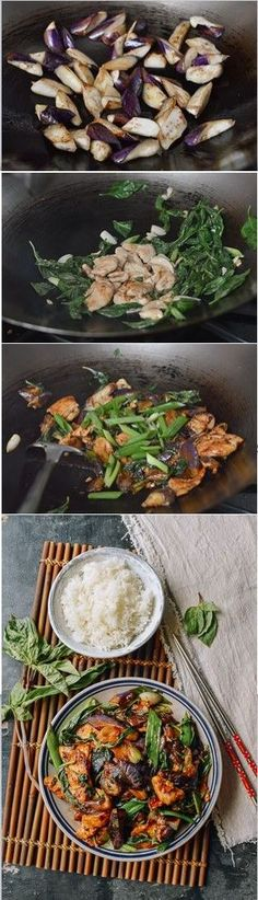 Japanese Eggplant with Chicken and Thai Basil, recipe by the Woks of Life