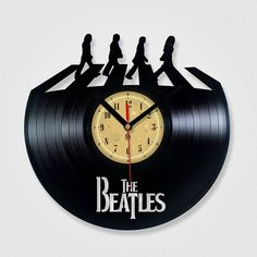 Vinyl Record Clock - The Beatles Abbey road. Vinyl Eaters is an upcycling product made from vinyl records. Cool gift ideas for music lovers. $25.00