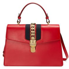 Gucci Sylvie Large Leather Handbag ($3,365) ❤ liked on Polyvore featuring bags, handbags, red, red purse, leather purses, red hand bags, man bag and gucci handbags
