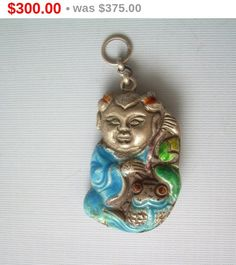 Chinese Character Immortal-Koi Fish Chatelaine Pendant FOB-Vintage Antique Sterling Silver-Enamel-Heavy Repousse-Collectible Asia Jewelry by CougarCoveFineGifts on Etsy https://www.etsy.com/listing/261485427/chinese-character-immortal-koi-fish