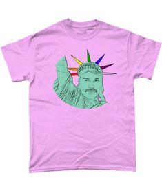 Funny, Gay, T-Shirt. Freddie Mercury as The Statue of Liberty! LGBT/Gay,Pink,3XL #Gildan Freddie Mercury, Mardi Gras, Lgbt, Liberty, Pride, Statue, Funny, Mens Tops, T Shirt