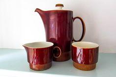 Coffee set. Tea set. Poole pottery. Teapot. coffee pot. Milk jug. sugar bowl. Retro coffee set. 1970s. retro tea set. by thevintagemagpie01 on Etsy