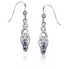 Bling Jewelry Amethyst Celtic Knotwork Sterling Silver Drop Earrings ($28) ❤ liked on Polyvore featuring jewelry, earrings, purple, drop earrings, long earrings, purple earrings, sterling silver dangle earrings and sterling silver drop earrings