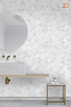 For bathroom design inspiration peruse our collection of effortless arabesque, rectangle, scallop and hexagon tiles. Stone mosaics are smaller than traditional tiles but still provide the classic mosaic look and function as the perfect addition to any splashback or pool! See more online #3dstone #marbletile #tiles #mosaictile #arabesquetile #scalloptile #mosaictiles #ihavethisthingwithtiles #whitebathroom #bathroomdesign #bathroomtiles #hexagontiles #blackcabinets #simpleinteriors