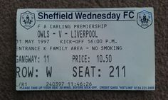 Sheffield Wednesday V Liverpool. Liverpool Football Tickets, Sheffield Wednesday Fc, Premier League, Cards, Map