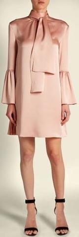 Pleat-Side Tie-Neck Satin Mini Dress, Pink