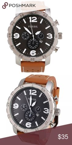 Fossil Grant Chronograph Leather Mens Watch Fossil watches are offered in an array of sizes, styles and materials. Watches with charm bracelet links to watches with leather bands and everything in between can be found both in Fossil men's and ladies watch line! Whether you are after classic, adventurous, elegant, leather, you will find something to fit your look in this brand's collection! The company's founding principal of bringing fashion to function Fossil Accessories Watches