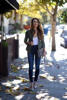 Jessica Ricks Kensie Girl Anorak   Brandy Melville Top   Joes Jeans   Steve Madden Bryrony Heels and Bag   Peggy Li Necklace