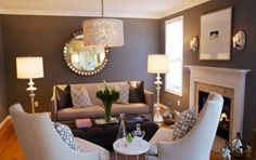 Gray living room--I like this shade instead of the blues.