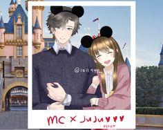 "kumakopanda: ""In Disney lalaland with Jumin and MC "" Jumin X Mc, Jumin Han Mystic Messenger, Anime Love Couple, Dating Games, Couple Drawings, All Anime, Anime Couples, Boy Or Girl, Kiss"