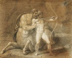 The Centaur Chiron teaching the Young Achilles in Archery. Berthel Thorvaldsen. Danish. 1770-1844. drawing. pencil, black and white chalk on yellowish paper. http://hadrian6.tumblr.com