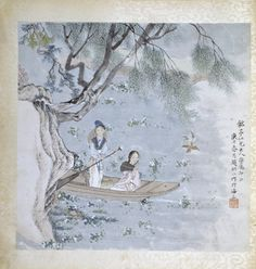 Boating Scene  Shanghai China 1860-1880  Zhao Deng'ao  paint on paper mounted on cloth
