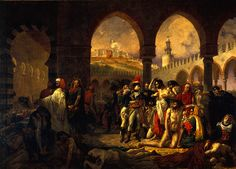 """""""Napoleon Bonaparte Visiting the Victims of the Plague at Jaffa"""", 11/Março/1799-1804. (by Antoine-Jean Gros, 1771-1835). Louvre."""