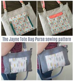 Tote bag purse sewing pattern. A classic everyday bag to sew with handles to carry, and a removable adjustable strap to carry as a shoulder bar or crossbody bag. Handbag sewing pattern. Crossbody bag sewing pattern. Sewing pattern for an easy bag to DIY with zipper pockets. #SewABag #BagSewingPattern #SewAToteBag #ToteBagSewingPattern #SewAPurse #PurseSewingPattern Handbag Patterns, Bag Patterns To Sew, Sewing Patterns, Wallet Sewing Pattern, Backyard Farming, Simple Bags, Sewing Basics, Purses And Handbags, Tote Bags