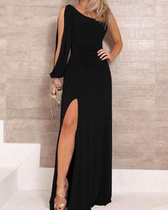 One Shoulder Slit Sleeve High Slit Party Dress – bodyconest long evening dresses,fashion dresses party,night gown dress,dress beautiful Elegant Dresses, Sexy Dresses, Evening Dresses, Casual Dresses, Dresses For Work, Prom Dresses, Summer Dresses, Formal Dresses, Pretty Dresses
