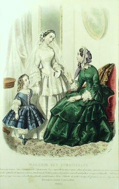 März 1854  ++++++++++   GRAVURE de MODE AUTHENTIQUE-M141-MAGASIN DEMOISELLES-ROBES CEREMONIE-1854