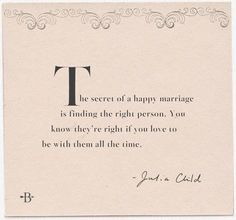 Julia Child quote on the secret of a happy marriage
