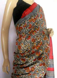 Handblock Kalamkari print Tussar Silk saree