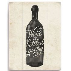 "Click Wall Art Wine Is Bottled Poetry Painting Print Size: 20"" H x 16"" W x 1"" D"