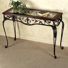 Europe and Europe-style wrought iron table seven exquisite coffee ta. Iron Console Table, Iron Table, Wrought Iron Decor, Wrought Iron Gates, Iron Patio Furniture, Metal Furniture, Garden Furniture, Vintage Wood, Europe Style