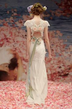 *Back View* Beauty Wedding Gown by Claire Pettibone Couture Bridal, An Earthly Paradise Spring 2013 Collection. Ivory beaded lace bodice and linen skirt with pink and green jeweled keyhole back. Lace Wedding Dress, Fall Wedding Dresses, Colored Wedding Dresses, Wedding Gowns, Spring Wedding, Garden Wedding, Prom Dresses, Claire Pettibone, Dress Vestidos