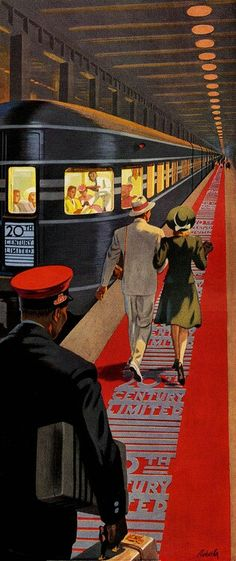 Century Limited, New York To Chicago Overnight - New York Central System ~ Vintage travel poster illustrated by Ray Prohaska, Old Posters, Train Posters, Railway Posters, Art Deco Posters, Illustrations And Posters, Vintage Illustrations, Art Deco Illustration, Train Illustration, Retro Kunst