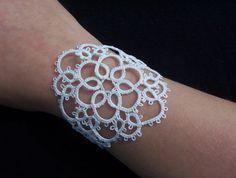 bridal lace bracelet white cuff bracelet tatted by MamaTats, $20.00
