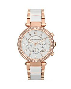 Michael Kors Parker Chronograph Glitz Watch in White & Rose Gold, 39mm | Bloomingdale's