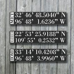 Personalized GPS Sign,GPS Coordinates Tell Your Love Story,Latitude Longitude,Wedding Gift Wood Signs For Home, Custom Wood Signs, Home Signs, Wooden Signs, Diy Signs, Painted Signs, Silhouette Projects, Do It Yourself Home, Wooden Diy