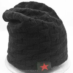 a862a809fc4 New Unisex black Knit Baggy Beanie Winter Hat Ski Slouchy Chic Knitted Cap   fashion