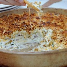 Jalapeño Popper Dip -  6-8 slices diced, crispy bacon, 2@8-oz packages softened cream cheese,  1 cup  mayo,  4-6 jalapeno's  chopped/ deseeded, 1 cup shredded cheddar cheese,  1/2 cup shredded mozzarella cheese, 1/4 cup diced green onion --  Mix all ingredients well. Transfer to 12 inch oven proof dish. -- Combine topping ingred: 1 cup crushed Ritz crackers, 1/2 cup parmesan cheese, 1/2 stick melted butter, --  Sprinkle over top of dip.  Bake 350F 20-30 minutes or til bubbly.