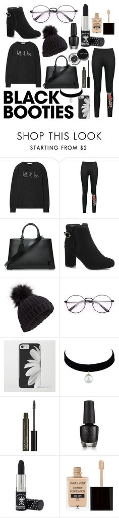 """Black Booties"" by alyssashockley003 ❤ liked on Polyvore featuring Lingua Franca, Louis Vuitton, Miss Selfridge, Bobbi Brown Cosmetics, NYX, Manic Panic NYC and Wet n Wild"