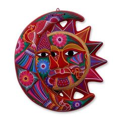 Ceramic wall adornment, 'Blossoming Eclipse' by NOVICA