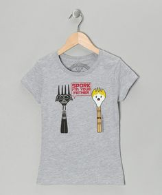 Take a look at this Athletic Heather 'Spork I'm Your Father' Tee - Toddler & Girls by David & Goliath on #zulily today!