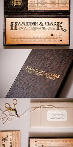 These invitations were designed as men's vintage wallets. The wallets were… Brown Wedding Invitations, Addressing Wedding Invitations, Destination Wedding Invitations, Wedding Envelopes, Wedding Invitation Design, Custom Invitations, Wedding Favors, Train Timetable, Ticket Invitation