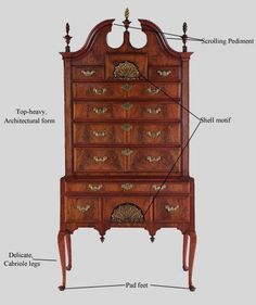 Style Glossary: Queen Anne. The highboy, or high chest, was another popular (and top-heavy) form of Queen Anne furniture