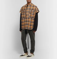 Fear Of God Oversized Checked Cotton-flannel Half-placket Shirt In Mens Fashion, Fashion Outfits, Aesthetic Clothes, Beachwear Clothing, Flannel, Long Sleeve Tees, Street Wear, Men Casual, Sweatpants