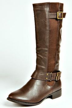 Celia Chocolate Riding Boot at boohoo.com