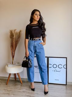 Calca jeans slouchy jeans. #tendencia Looks Jeans, All Jeans, Jean Outfits, Casual Wear, Ideias Fashion, Spring Summer, Poses, How To Wear, Clothes