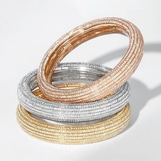 All of the Nirav Modi Embrace jewels, including these bangles, are completely flexible, expanding with the ease of an elastic band thanks to the clever engineering of the 200-plus components. Discover the jewellery designer redefining diamonds: http://www.thejewelleryeditor.com/jewellery/article/nirav-modi-sparkling-new-jeweller-on-bond-street-london/ #jewelry