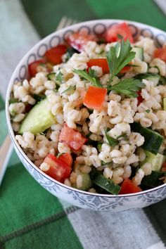 barley salad tomatoes cucumbers parsley 600 3 of 3 {Friends First with Rachel Cooks} Barley Salad add orange Rosemary vinaigrette Tomatoes, Cucumbers and Parsley Orzo Salad Recipes, Yogurt Recipes, Diet Recipes, Vegetarian Recipes, Cooking Recipes, Healthy Recipes, Healthy Salads, Healthy Cooking, Healthy Eating