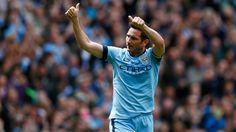 Frank Lampard of Manchester City celebrates scoring his team's first goal during the Barclays Premier League match between Manchester City and Southampton at Etihad Stadium on May 2015 in Manchester, England. Manchester City, Manchester England, Southampton, Barclay Premier League, Premier League Matches, Football, Barclays Premier, Celebrities, Sports